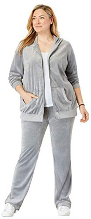 Woman Within Plus Size 2-Piece Velour Hoodie Set - Gunmetal