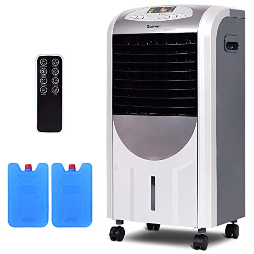 COSTWAY Evaporative Air Cooler with Fan & Humidifier Portable Bladeless Quiet Electric Fan