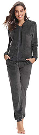 Aibrou Women's Velour Sweatsuit Set Active Casaul Hoodie Pants Tracksuit Set Gray