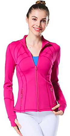 UDIY Fitness Zipper Jacket for Women Sports Exercise Active Jackets Coat Rose