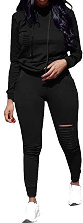 Women's Jogging Suits Pullover Hoodie Sweatshirt Hollow Out Skinny Long Pants Tracksuits Set