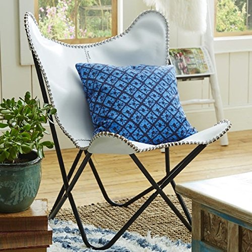 A.H. by Horizon Interseas White Leather Butterfly Chair