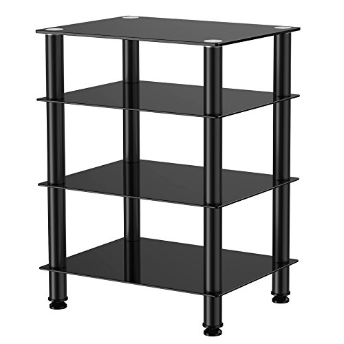 Fitueyes 4-tier Media Stand Audio/Video Component Cabinet