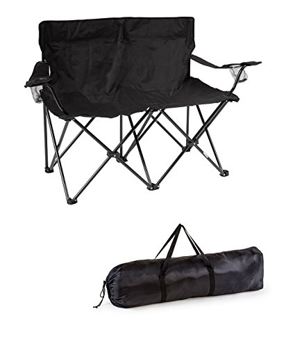 Trademark Innovations Loveseat Style Double Camp Chair with Steel Frame by
