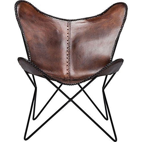 Brown dark tan leather armchair star butterfly leather butterfly chair