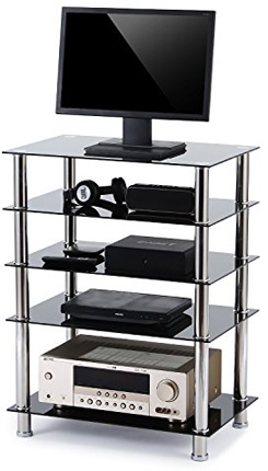 Rfiver 5-Tier Black Glass Audio Video Tower for TV, Xbox, Gaming Consoles