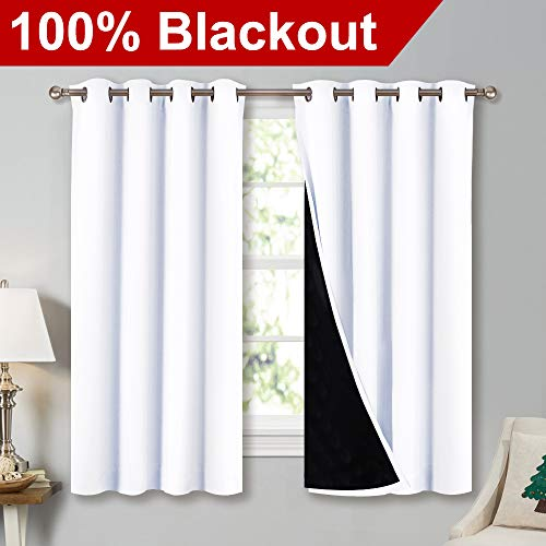 NICETOWN White Thermal Insulated 100% Blackout Lined Curtains