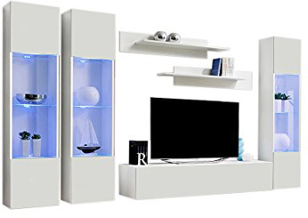 MEBLE FURNITURE & RUGS Wall Mounted Floating Modern Entertainment Center Fly C