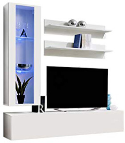 MEBLE FURNITURE & RUGS Wall Mounted Floating Modern Entertainment Center Fly H