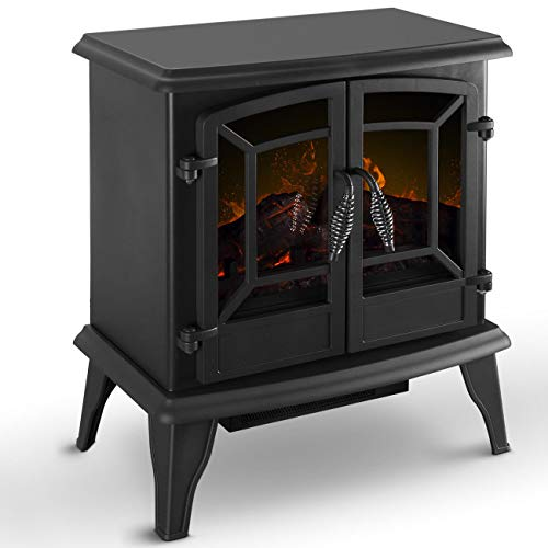 Fireplaces New Black 1400W Freestanding Electric Heater Stove Realistic Flame Adjustable