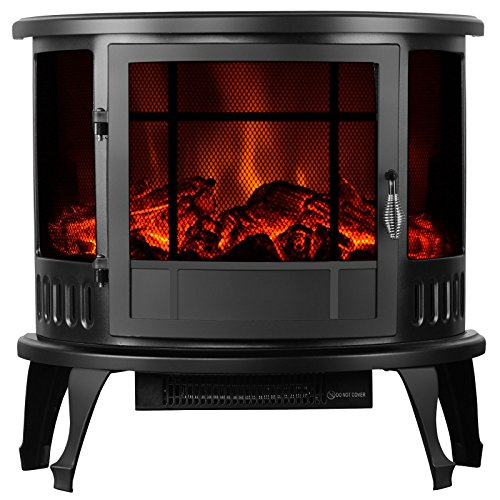 """Fireplace New 23"""" Standing Electric Stove 1500W Heater Realistic Flame Adjustable"""