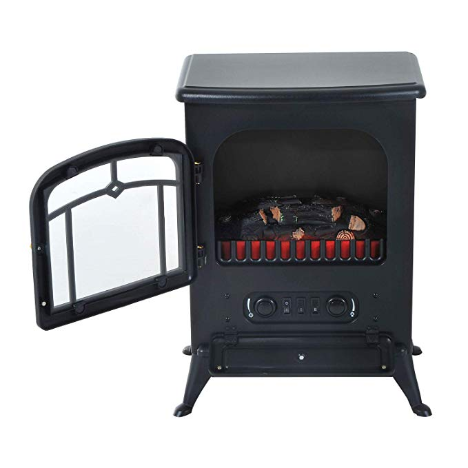 Fireplaces New Black, 750W/1500W Adjust Electric Free Standing Heater Wood Fire Flame Stove