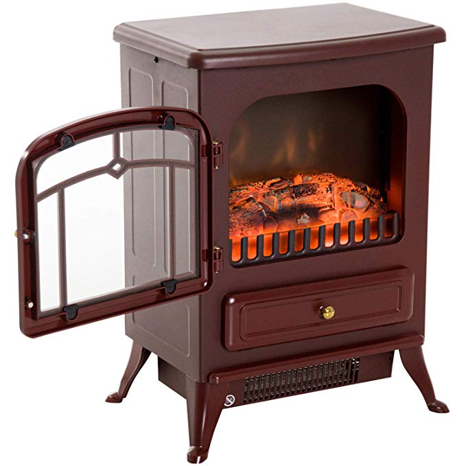 Fireplaces New Red, 750/1500W Electric Freestanding Fire Flame Stove Heater Adjustable