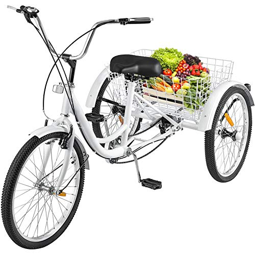 Happybuy 26inch Adult Tricycle 7 Speed Single Speed 3 Wheel Bike Adult Tricycle Trike Cruise Bike