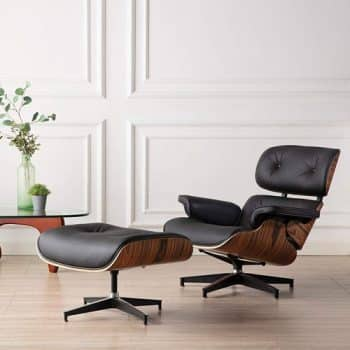 Leather Chairs with Ottomans