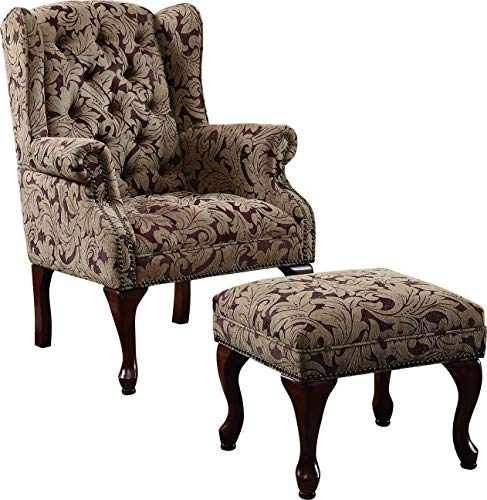 Tufted Wing Chair & Ottoman Brown