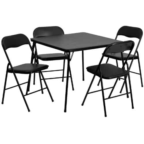 Flash Furniture Black Folding Card Table and Chair Set
