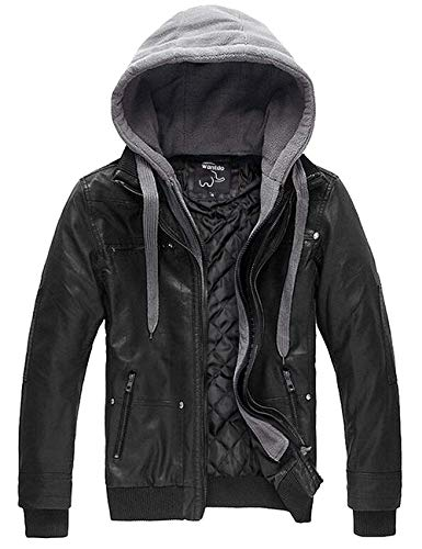 Wantdo Faux Leather Men's Jacket Removable Hood