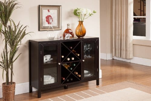 Kings Brand Furniture Wine Rack Console with Sideboard Table