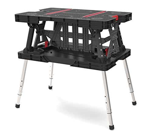Keter Folding Compact Adjustable Workbench Sawhorse Work Table