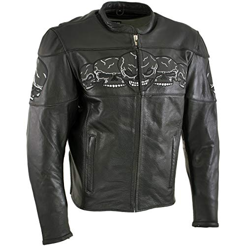 Xelement Skull Head' BXU6050 '3 Men's Leather Jacket