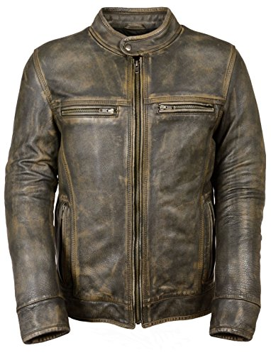 Milwaukee Leather Men's Distressed Big Brown Vents Motorcycle Jacket