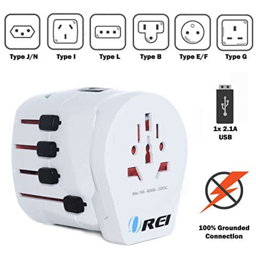 Safest World Travel Plug Adapter Grounded by Orei 3 Prong