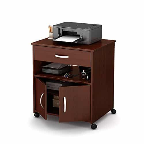 South Shore Stand Storage2-Door Printer Royal Cherry Wheels
