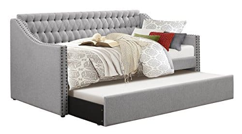 Homelegance Sleigh Daybed with Tufted Back Rest and Nail Head Accent