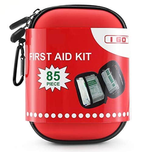 I GO First Aid Compact Kit Case Hard Shell Hiking, Travel, Camping, 85 Pieces