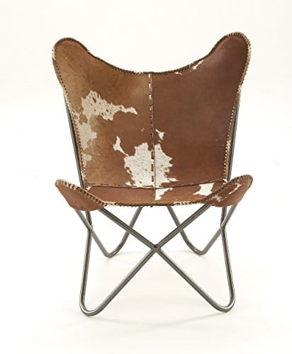 Deco 79 94988 Metal Real Leather Hair Chair
