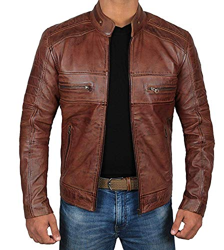 Brown Men's Leather Jacket Cafe Racer Leather Distressed Real Lambskin