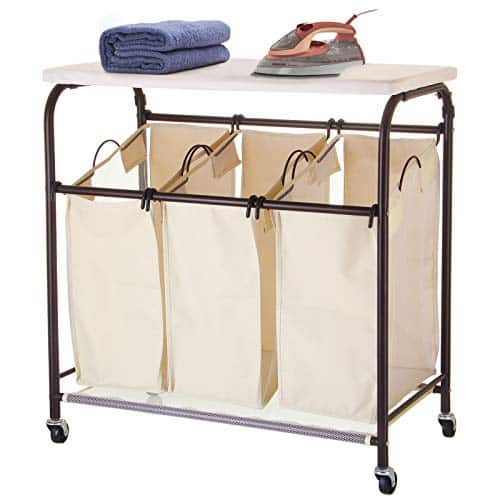 Ollieroo Ironing Board with Hamper Sorter