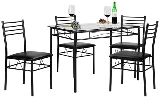 VECELO Dining Table with Four Chairs