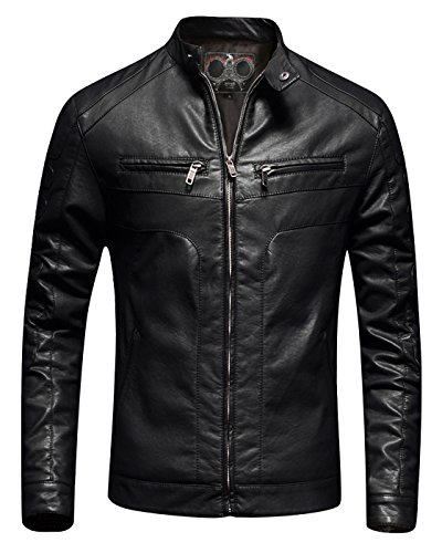 Men's Slim-Fit Casual Jacket Biker Racer Faux Leather