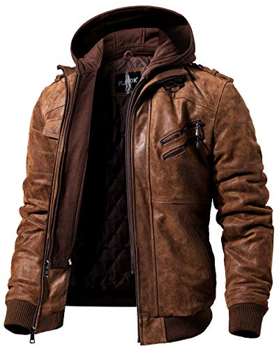 FLAVOR Men Leather Motorcycle Brown Jacket Removable Hood