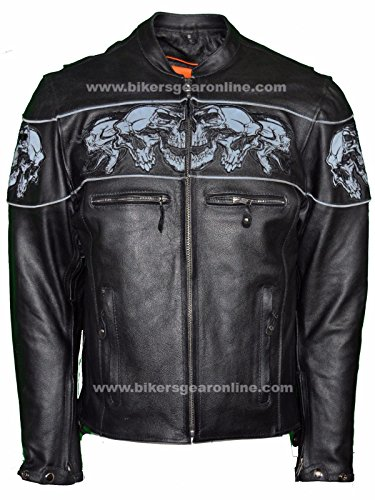 Dealer Leather Men'S Riding Reflective Skulls Crossover Leather Jacket