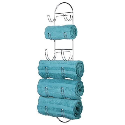 mDesign Wall Mount Metal Wire Towel Storage Shelf Organizer