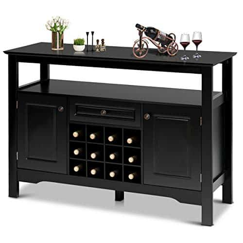 Giantex Wine Cabinet with Wine Rack Open Shelf Drawer Cabinets