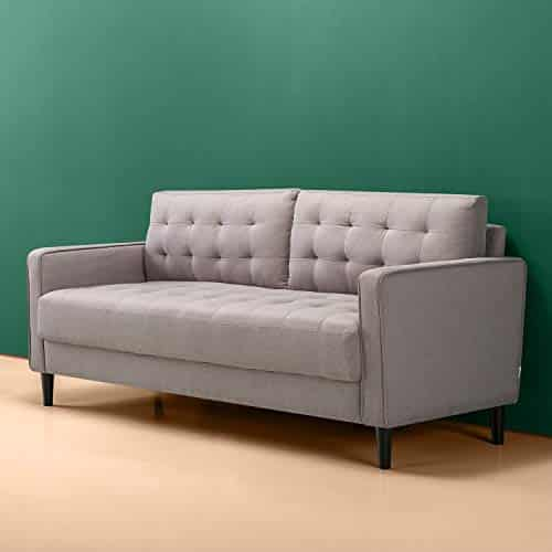 Zinus Benton 76 Inch Mid-Century Upholstered Sofa Couch Living Room Stone Weave Grey