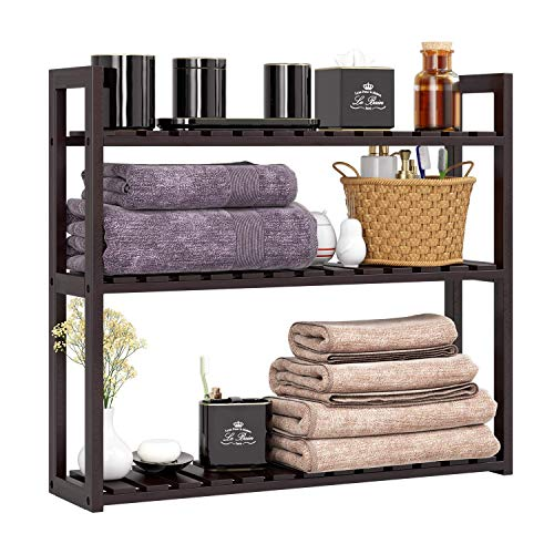 HOMFA Bamboo Bathroom Shelf 3-Tier Multifunctional Adjustable