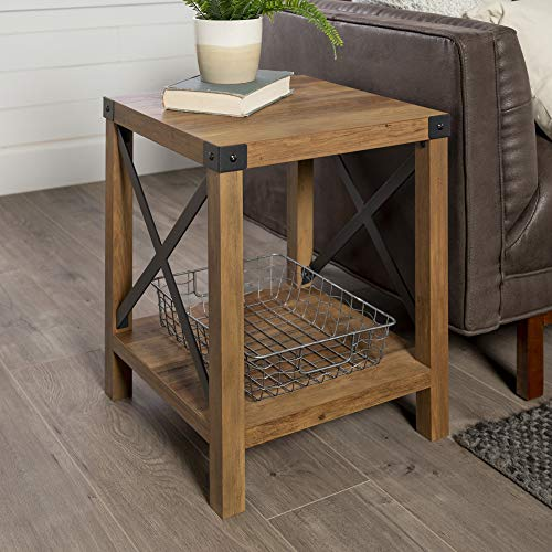 Walker Edison Furniture Farmhouse Metal Square End Table