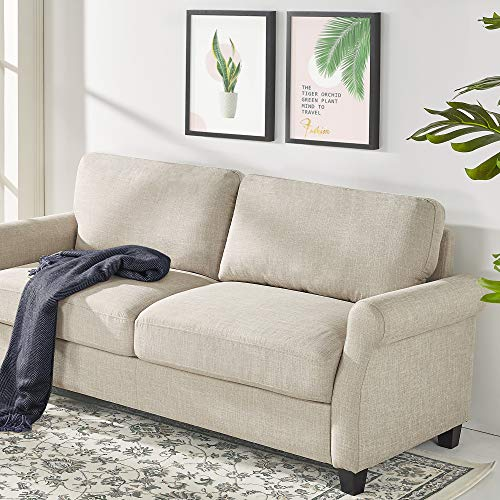 Zinus Josh 77.5 Inch Traditional Upholstered Sofa/Living Beige Weave Room Couch