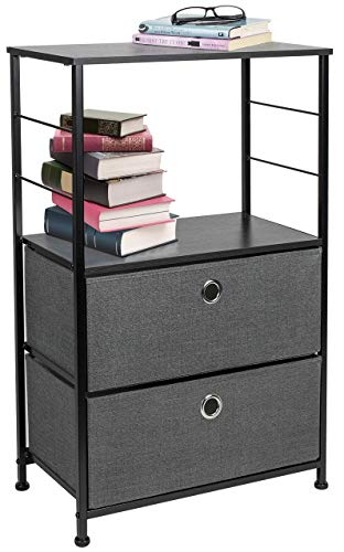 Sorbus Two Drawer Nightstand with Shelf Storage