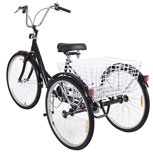 GYMAX 3-Wheel Bicycle, Adult Tricycle Trike Cruise Bike