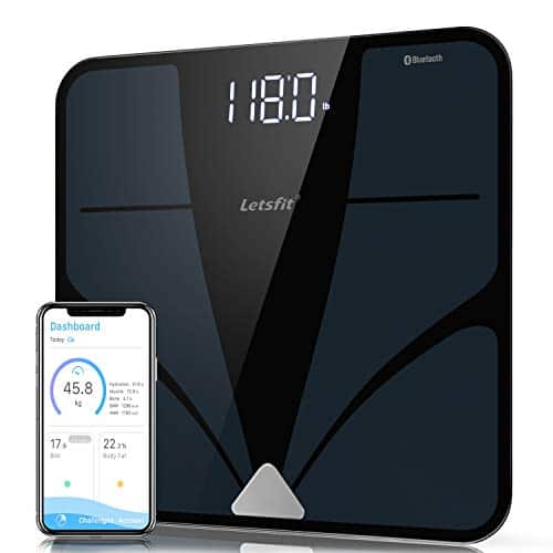 Letsfit Bluetooth Scale Body Fat Digital Bathroom Wireless Weight Scale Backlit Display