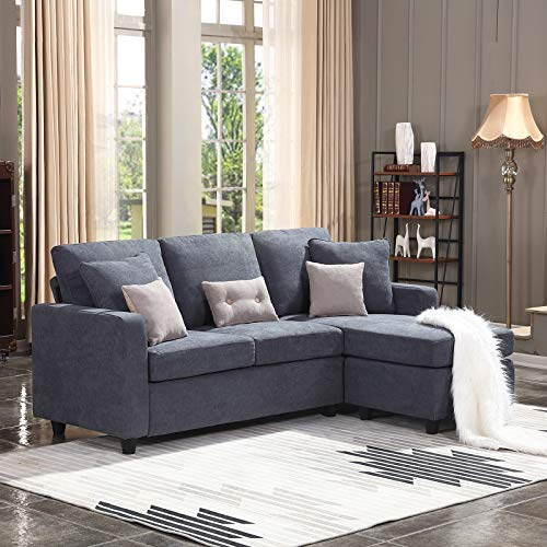 HONBAY Sofa Couch Convertible Sectional L-Shaped Couch Modern Linen Space Fabric Small Dark Grey