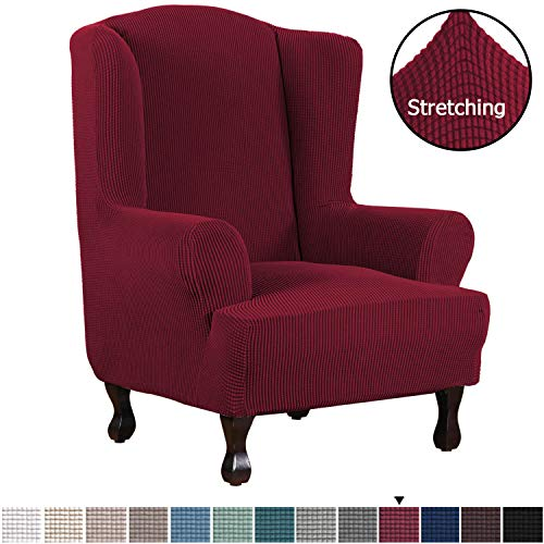 H.VERSAILTEX High Stretch Jacquard, 1 Piece Wingback, Chair Cover, Burgundy Red