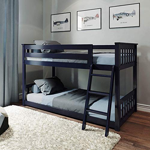 Max & Lily Twin Low Solid Wood Bunk, Bed Double Bed