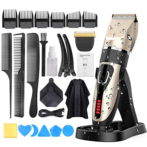 Hair Clippers for Men, DUSASA Professional Cordless Hair Trimmer IPX7 Waterproof